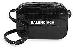 Balenciaga Women's Extra-Small Everyday Croc-Embossed Leather Camera Bag