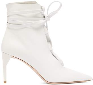 Lace Up Leather Ankle Boots - Womens - White