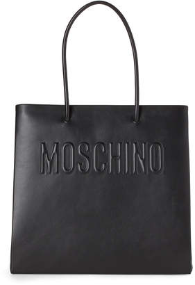 Moschino Black Logo Convertible Leather Tote
