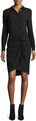 Contemporary Designer Wren Long-Sleeve Twist-Skirt Shirtdress