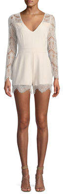 Cupcakes And Cashmere Erma Long-Sleeve Lace Romper