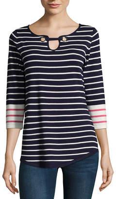 ISELA Isela 3/4 Sleeve Grommet Striped Tunic Top