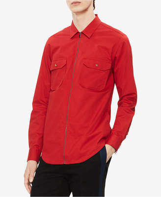 Calvin Klein Men Zip Front Twill Shirt