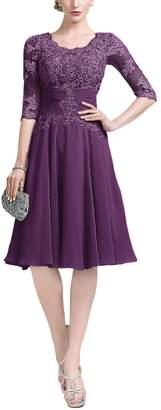 liangjinsmkj Women's Knee Length Chiffon Lace 3/4 Sleeve Ruffle Mother Formal Evening Dress US