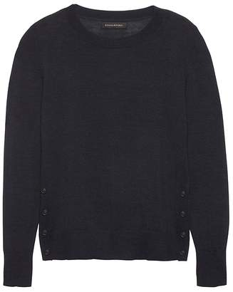 Banana Republic Petite Machine-Washable Merino Wool Button-Side Cropped Crew-Neck Sweater