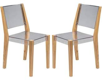 clear LeisureMod Barker Modern Wooden Dining Kitchen Side Chair in Set of 2