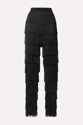 By Malene Birger Zelma Fringed Fishnet Slim-leg Pants - Black