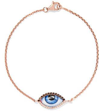 Lito Tu Es Partout 14-karat Rose Gold, Enamel And Diamond Bracelet