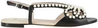 Fendi High Molded Band Slingback Strap Flat Sandals