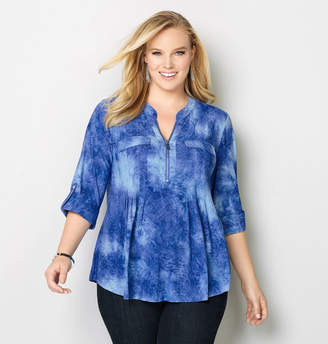 Avenue Tie Dye Jacquard Roll Sleeve Top
