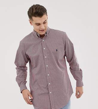 Big & Tall gingham polpin shirt player logo buttondown in burgundy/white
