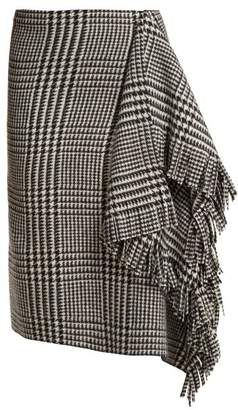 Balenciaga Houndstooth Wool Skirt - Womens - Black White