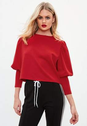 Missguided Puffball Round Neck Blouse