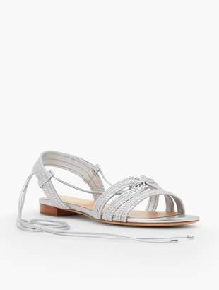 Talbots Keri Braided Lace-Up Sandals-Metallic