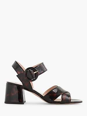 J.Crew Penny Block Heel Sandals, Black Pecan Patent