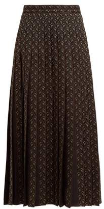 Gucci Floral Jacquard Wool Blend Midi Skirt - Womens - Black Multi