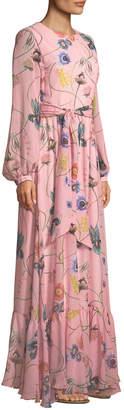 Borgo De Nor Dianora Long-Sleeve Tie-Waist Floral-Print Silk Georgette Maxi Dress