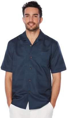 Cubavera Short Sleeve Tonal Plaid Pocket Camp Shirt