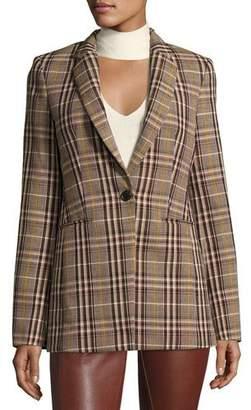 Theory Power Bexley Plaid Wool Blazer Jacket, Multi $595 thestylecure.com