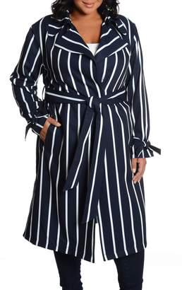 Rachel Roy Stripe Water Repellent Trench Coat