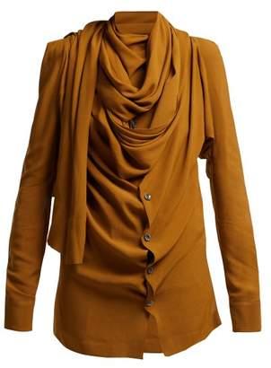 Vivienne Westwood Tie Neck Crepe Blouse - Womens - Khaki