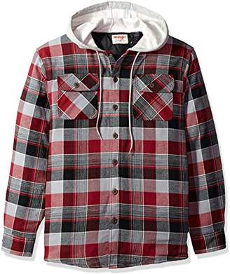 Wrangler Authentics Men's Long Sleeve Quilted Lined Flannel Shirt Jacket Hood