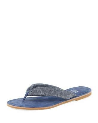 Eileen Fisher Flue Flat Chambray Thong Sandal