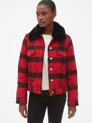 Gap Plaid Icon Jacket with Detachable Faux-Fur Collar