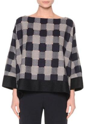 Giorgio Armani Bateau-Neck Check Top, Navy/Gray $1,695 thestylecure.com