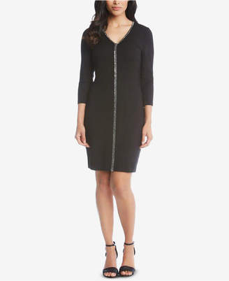 Karen Kane V-Neck Sparkle Sheath Dress