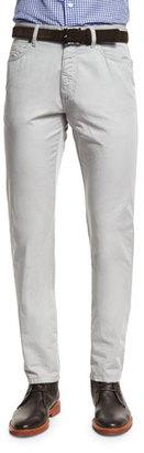 Ermenegildo Zegna Five-Pocket Cotton-Linen Pants, Stone $375 thestylecure.com