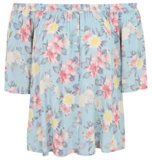 George Blue Floral Mock Button Bardot Top