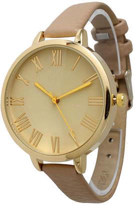 BEIGE OLIVIA PRATT Olivia Pratt Womens Gold-Tone Leather Strap Watch 14095