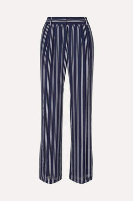 MICHAEL Michael Kors Mega Railroad Striped Georgette Pants - Navy
