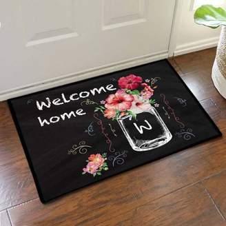 """Monogram Online Custom Hibiscus Bouquet Welcome Home Doormat, 19.5"""" x 15.5"""""""