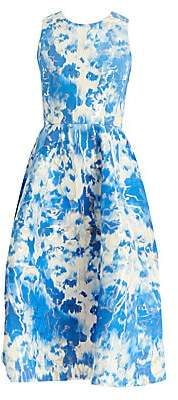 Carolina Herrera Women's Tie-Dye Metallic Stretch-Silk A-Line Dress