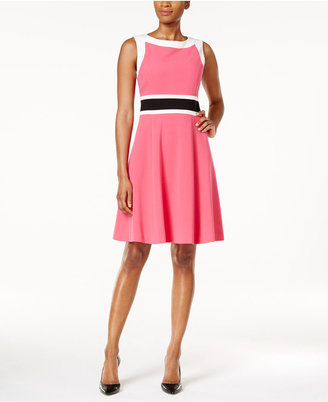 Nine West Colorblocked Fit & Flare Dress $89 thestylecure.com