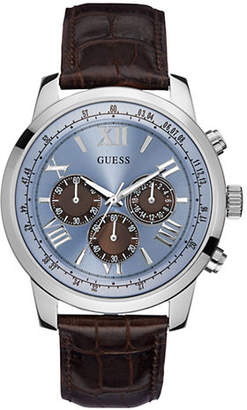 GUESS Mens Chronograph Brown Genuine Leather Watch 45mm W0380G6