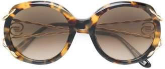 Elie Saab tortoiseshell oversized logo sunglasses