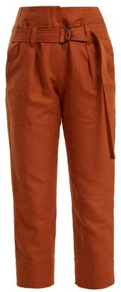 Brunello Cucinelli Paperbag Waist Straight Leg Cropped Trousers - Womens - Orange