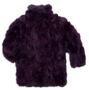 Adrienne Landau Little Girl's& Girl's Rabbit Fur Coat