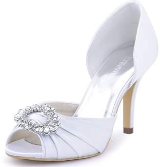 at Amazon Canada · ElegantPark A2136 Women Satin Peep Toe Ruched Rhinestones  Pumps High Heel Evening Prom Shoes US 9 e7d52e360b9c
