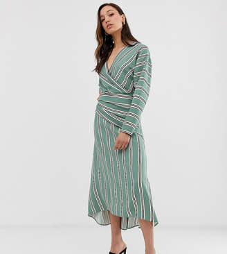 Asos Tall DESIGN Tall wrap front maxi dress in wide stripe