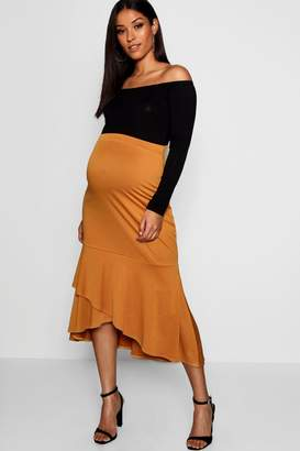 boohoo Maternity Wrap Over Frill Midi Skirt