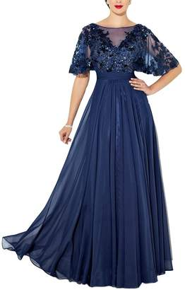 YOUAREFACNY Womens Elegant Lace Mother of The Bride Dress Beaded Bridesmaid Dress