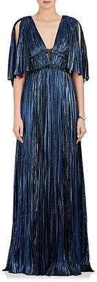 J. Mendel Women's Pleated Silk-Blend Lamé Deep V-Neck Gown