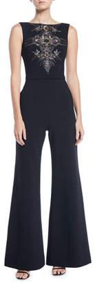 Theia Bateau-Neck Micro-Beaded Jumpsuit