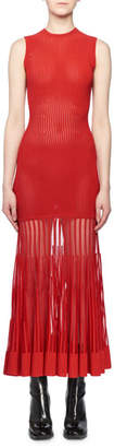 Alexander McQueen Sleeveless Crewneck Ottoman-Knit Sheer Bottom Long Dress