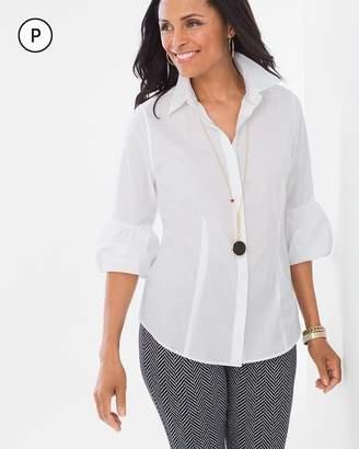 No Iron Petite Bubble-Sleeve Shirt