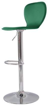Incadozo Spade Mid Century Modern High Back Upholstered Bar Stool in Chrome and Green